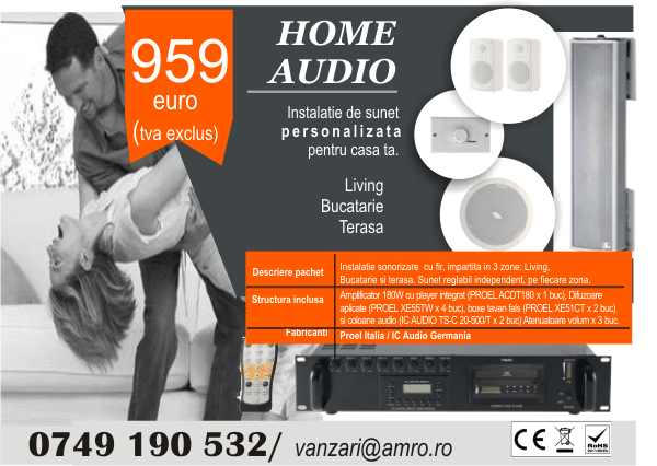 sistem audio casa, cu multiple zone, integrat in tavan